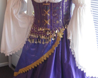 DDNJ 5pc Corset Style Bodice Chemise Skirts Costume Gypsy Witch Pirate Wench Medieval Renaissance Plus Custom Made ANY Size Anime Cosplay
