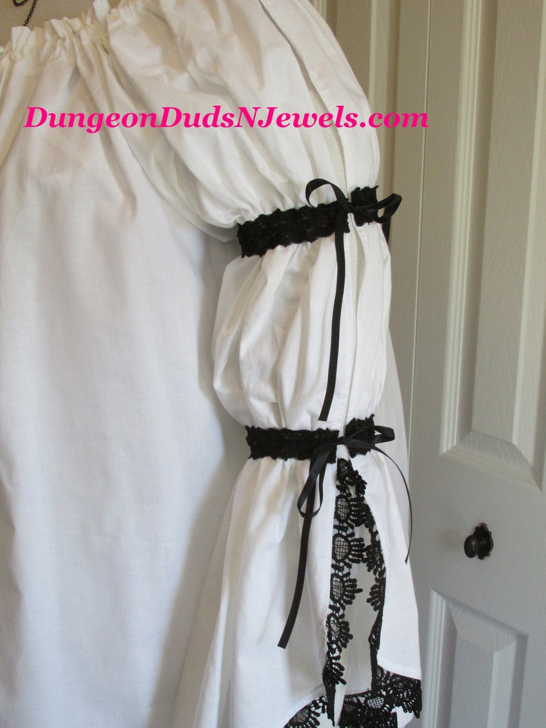 DDNJ Choose Color 2Tier Side Lace 3 qtr Slv Chemise Plus Made ANY Size Renaissance Pirate Victorian Wench Nightgown S M L XL 2X 3X 4X 5X 6X