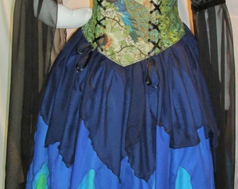 DDNJ Choose Color 4pc Fantasy Fairy Corset Gown Princess Peacock Renaissance Wedding Plus Custom Made Any Size Anime Costume Vampire Gothic