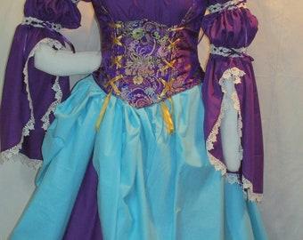 DDNJ 4pc Reniassance Corset Style Underbust Bodice Chemise Skirts Plus Custom Made Any Size Anime Steampunk Costume Pirate Gypsy Kawaii larp