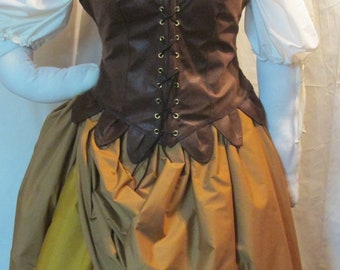 DDNJ 4pc Choose Fabrics Reversible Corset Style Demi Overbust Bodice w/tabs Chemise Skirt Plus Custom Made ANY Size Anime Costume Medieval