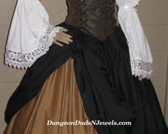 DDNJ 4pc Reniassance Corset Style Underbust Bodice Chemise Skirts Plus Custom Made Any Size Anime Steampunk Cosplay Pirate Gypsy Costume SCA