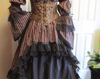 DDNJ Choose Fabrics Steampunk Victorian 5pc Reversible Corset Bustle Skirts Chemise Plus Made Any Size Renaissance Anime Lolita Medieval