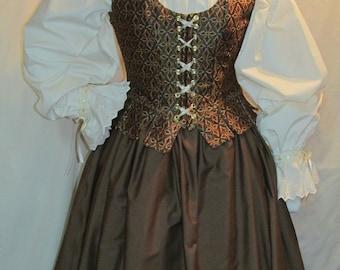 DDNJ 3pc Choose Fabrics Reversible Corset Style Demi Overbust Bodice w/tabs Chemise Skirt Plus Custom Made ANY Size Anime Costume Medieval