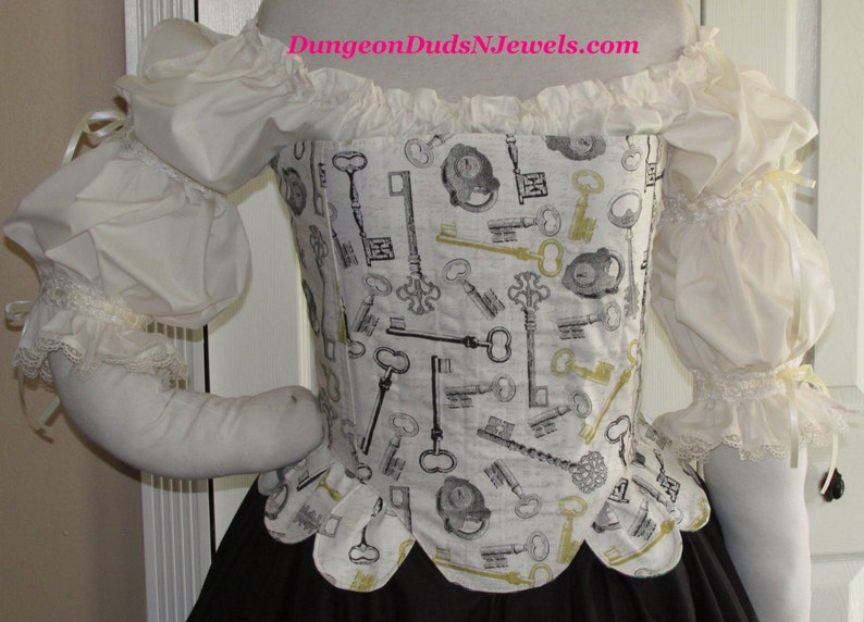 DDNJ Choose Fabric Fully Reversible Muffin Top Corset wTabs Renaissance Pirate Wench Maiden Fairy Plus Custom Made Any Size Costume Medieval