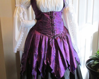 DDNJ 5pc Elegant Witch Gypsy Wench Pirate You Choose Fabric Reversible Bodice Renaissance Plus Custom Made Any Size Anime Costume Halloween