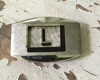 "Vintage Swank Belt Buckle ""L"""