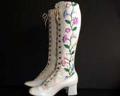 Vintage 60's Boho Embroidered Climbing Flowers Lace Up Granny Boots