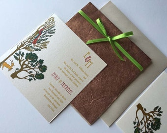 Indian Wedding Invitation and RSVP Card with Vrinda Van - the enchanted forest design