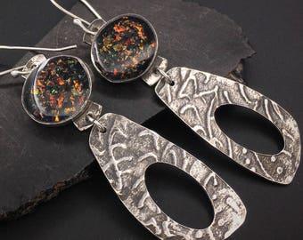 Silver and faux fire opal resin lightweight dangle artisan handcrafted earrings, designs by suzyn, hypoallergenic earwires
