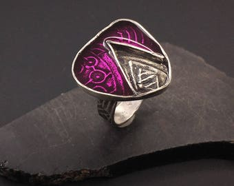 Sterling silver and amethyst/pink resin artisan handcrafted ring,  designs by suzyn