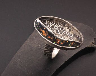 Sterling silver and resin artisan handcrafted ring, black, faux opal designs by suzyn