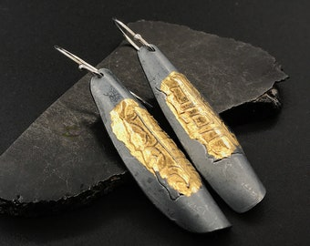 Keum boo, 24k gold, and sterling silver dark patina dangle earrings, handmade, designs by suzyn,hypoallergenic earwires