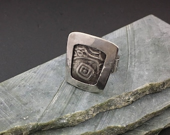 Special Price, Sterling silver artisan handcrafted pinky ring,  designs by suzyn