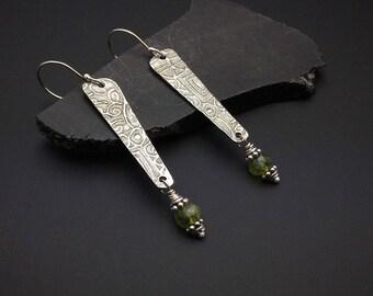 Silver long dangle earrings, Long Oxidized Silver and Peridot Earrings, green stones, hypoallergenic earwires
