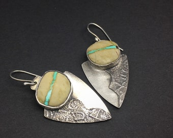 Royston Ribbon Turquoise, Boulder Turquoise and  sterling silver dark patina dangle earrings, handmade, designs by suzyn
