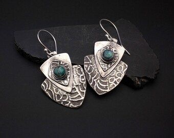 Earrings, silver, tribal, artisan, shield, handmade,  Dangle earrings,  turquoise stones, hypoallergenic earwires