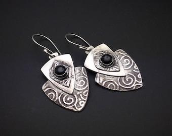 Earrings, silver, tribal, artisan, shield, handmade,  Dangle earrings, black onyx, black stones, hypoallergenic earwires