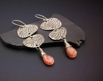 Silver long dangle earrings, Long Oxidized Silver, orange stone, Sunstone Briolette, hypoallergenic   Earrings