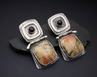 Hinged Sterling silver post dangle earrings with  Black Onyx and Peach Picasso Jasper