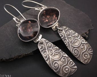 Silver and chocolate glass resin lightweight dangle artisan handcrafted earrings, designs by suzyn, hypoallergenic earwires