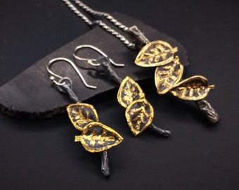 Made to order Pendant and earring matched set,  Individually priced Leaf and Branch Handmade Sterling Silver and 22k gold
