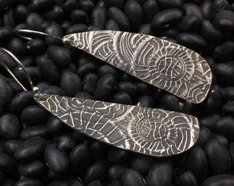 Sterling silver, lightweight and long artisan handcrafted  earrings, designs by suzyn, hypoallergenic earwires