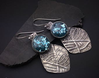 Sterling silver and blue resin and glass lightweight artisan handcrafted teardrop  earrings, designs by suzyn, hypoallergenic earwires