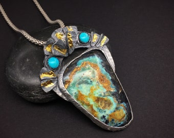 Statement piece Sterling silver  and large freeform Turquoise pendant, Keum Boo with popcorn chain