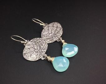 Aqua Chalcedony  and  sterling silver dark patina dangle earrings, handmade, designs by suzyn
