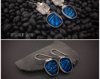 """Have them """"your"""" way Sterling silver and blue resin lightweight artisan handcrafted earrings, designs by suzyn, hypoallergenic earwires"""