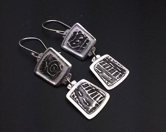 Earrings, silver, tribal, artisan, handmade, Smaller Dangle earrings, hypoallergenic earwires