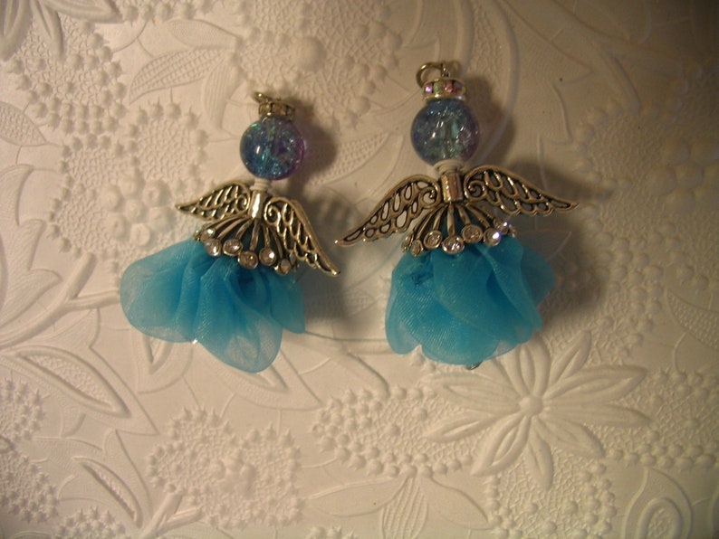 Two Turquoise Flower Angel Charm Pendant Dangles Jewelry Making Embellishments