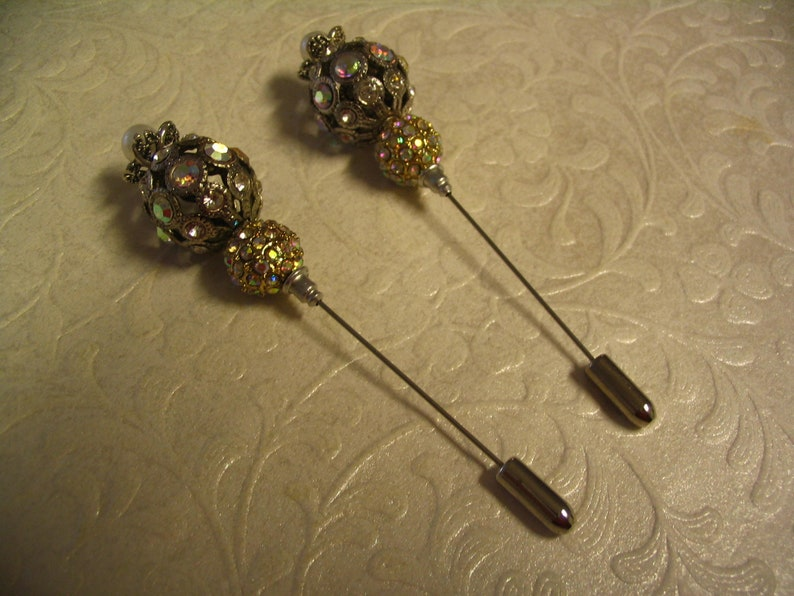 2 Beaded Rhinestone Stick Pins for Jewelry Making Craft Creations Embellishments