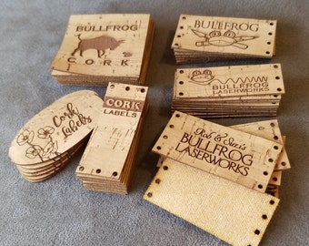 50 Custom Cork Fabric Labels with your engraving, graphics or logos