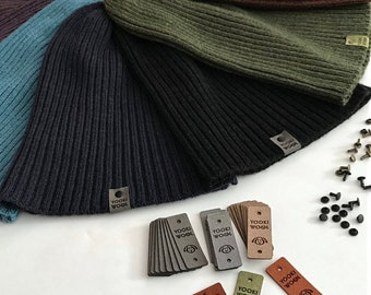 100 Custom Ultrasuede Labels - Personalized for your Knitting, Crochet and Sewing projects