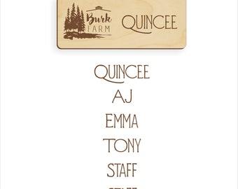 Wood engraved name badges custom made for Burk Farm
