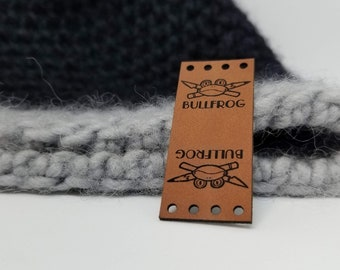 50 Custom Leatherette Labels with your engraving, graphics or logos