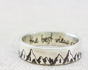 Mountain Ring - Inspiration Ring -  Outdoor Gift - Band - Inspirational Jewelry  - Jewelry - Silver Ring - Wedding Band - Mountain Jewelry