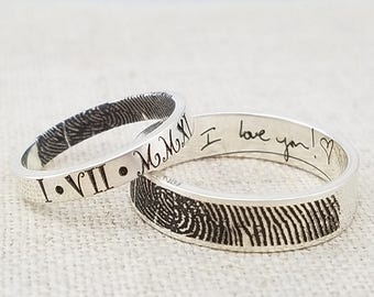 Personalized Fingerprint Jewelry -  Mother Gift Ring - ACTUAL Handwriting Jewelry - Engraved Silver Wedding Band - Memorial Jewelry - Ring