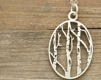 Wanderlust Gift - Charm Necklace - Jewelry - Outdoor Gift - Birch Tree Necklace - Woodland Jewelry - Silver Necklace - Oval Necklace