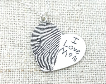 Personalized Fingerprint · Mom Gift · Jewelry · Personalized Necklace · Gift · Memorial Necklace · ACTUAL Handwriting Silver · Mom Jewelry