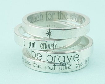 Inspirational Jewelry  - Personalized Jewelry - Though She Be But Little She is Fierce - Silver Stacking Rings - Personalized Ring