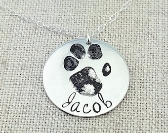 Personalized Pet Gift - Paw Print Necklace - Pet Memorial Jewelry - Personalized Gift - Personalized Jewelry - Custom Print Jewelry