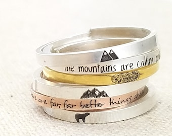 Dainty Inspirational Ring - Gift - Personalized Stacking Ring -  Jewelry -  Mountains Ring - Bear Ring - Emily Dickinson - Rings - Gold Ring