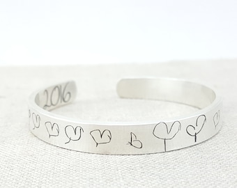 Personalized Bracelet - Mother's Day Gift - Handwriting Jewelry - Kids Art Jewelry - Personalized Memorial Jewelry - Mom Gift
