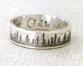 Personalized Silver Ring - Graduation Gift Gifts - Wedding Band - Forest Jewelry - Engraved Ring - Pine Tree Ring -  Nature Accessories