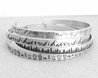 475291fcaee1 Jewelry - Cuff Bracelet - Stacking Bracelet - Silver Jewelry - Personalized  Bracelet - Mountains Jewelry - Floral Bracelet