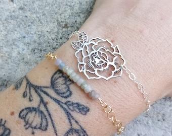 9831287ff1cd Peony Bracelet - Stacking Bracelet - Floral Jewelry - Flower Bracelet -  Sterling Silver Bracelet
