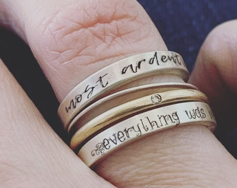 Personalized Ring - Book Lover Gift - Silver Inspiration Ring -  Jewelry - Engraved Ring - Literary Quote Ring - Gift - Gift for Her